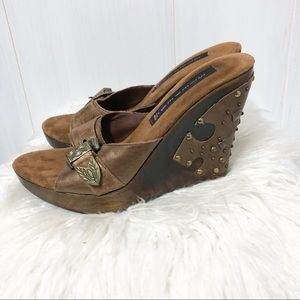 Steven by Steve Madden Leather and Wood Wedges
